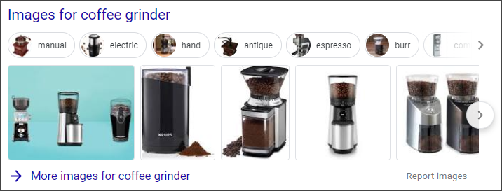 Image Carousel google search results serp Coffee Grinder