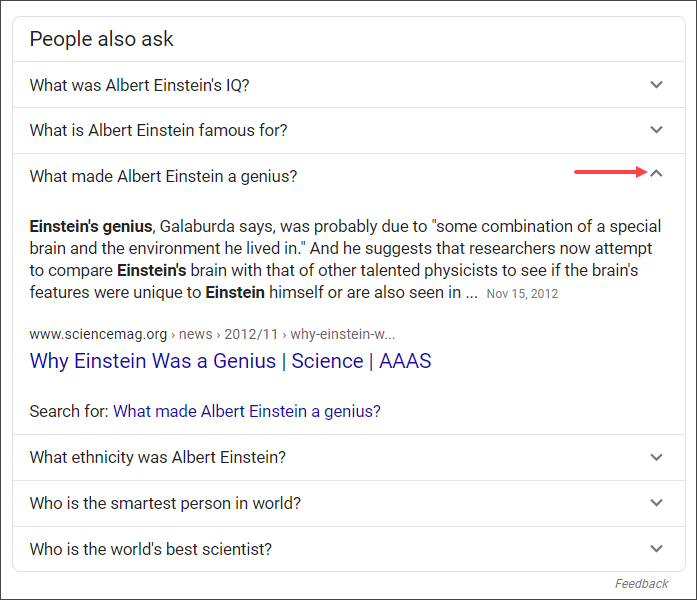 people also ask google search Einstein serps