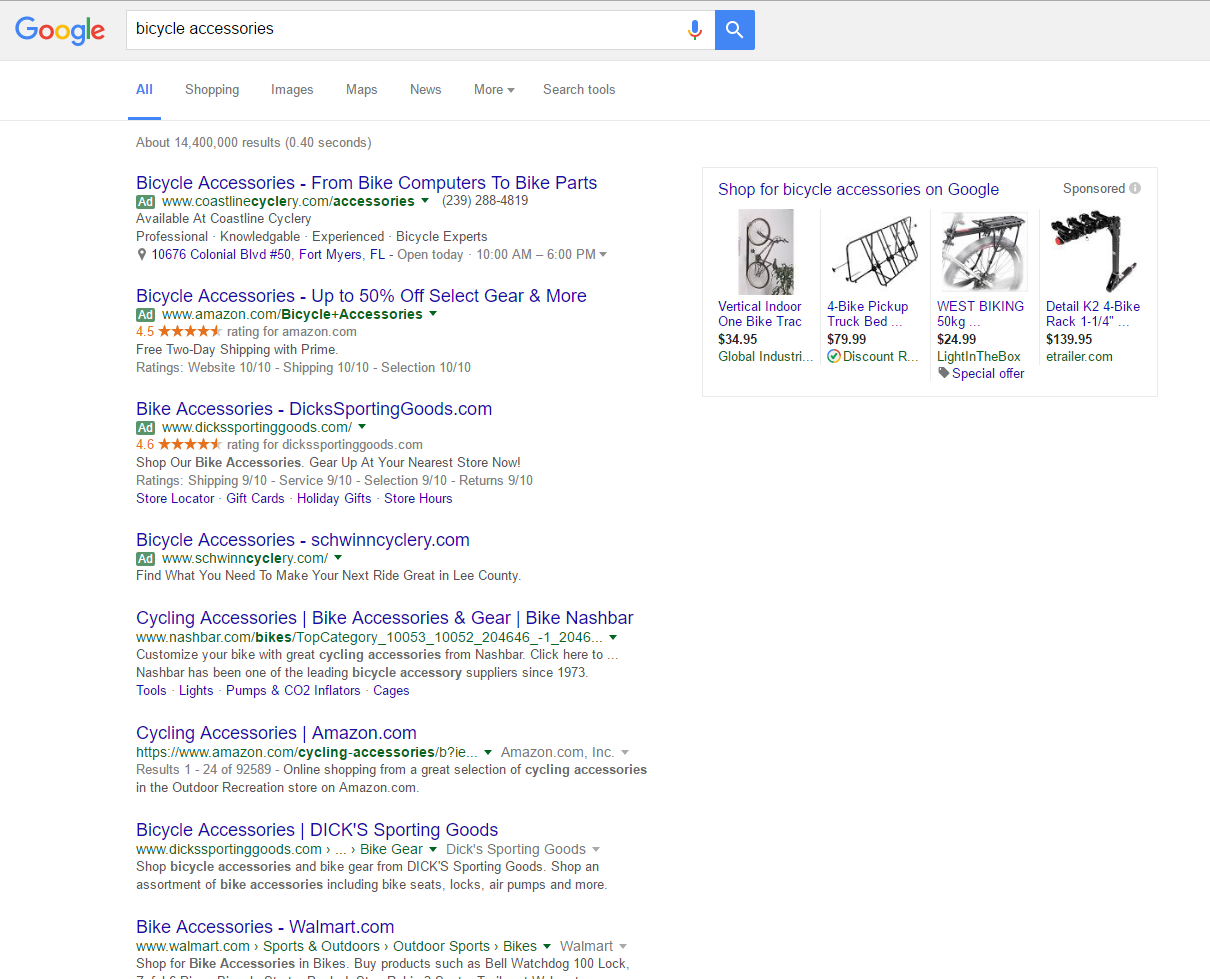 PPC AdWords Pay-per-click Google Search Results Example